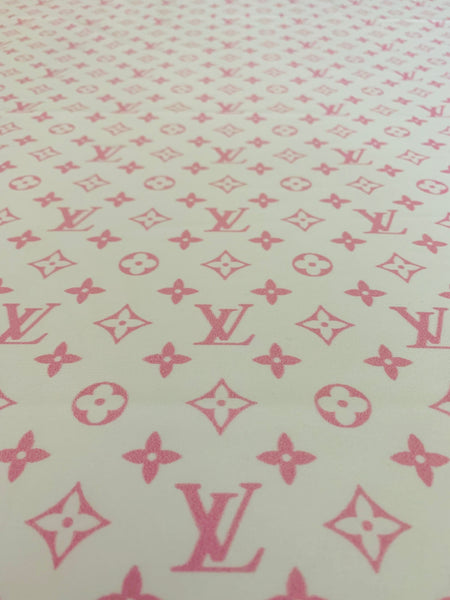 N-604 Designer Inspired White and Powder Pink Spandex Lycra Fabric