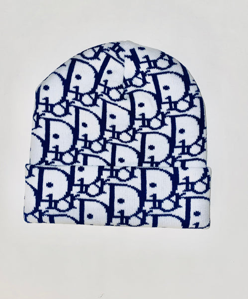 BEANIE-05 Designer Inspired BEANIE WHITE AND BLUE Hat Cap Skully