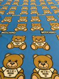 MOS-107 Designer Inspired BLUE BEAR Spandex Lycra Fabric Stretch