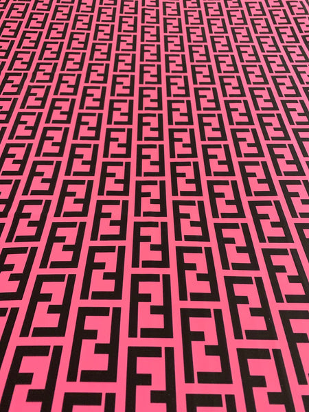 FEN-109 Designer Inspired PINK with BLACK Spandex Lycra Fabric