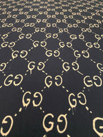 GU-609 Designer Inspired Black with Gold Spandex Lycra Fabric