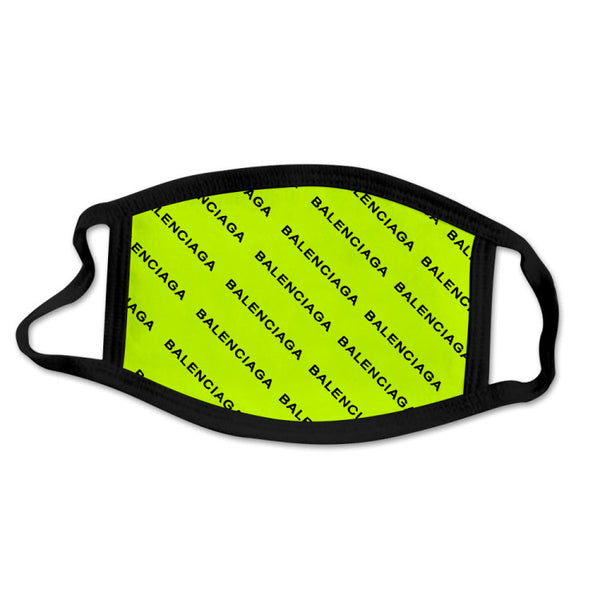 MASK-14 Designer Inspired Neon Green black Face Mask