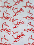 CLO-101 Designer Inspired White red word Christian Spandex Lycra Fabric 1 Yard