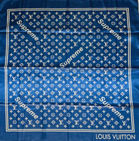 BAND-103 Designer Inspired BANDANA ROYAL BLUE WHITE SUP SCARF
