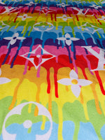 N-609 Designer Inspired LARGE PAINT Drip COLORFUL Spandex Lycra Fabric