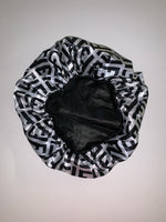 BONNET-02 Designer Inspired F WHITE BONNET DURAG hair tie