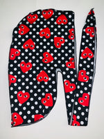 DURAG-33 Designer Inspired Polka Dots and Hearts Durag hair tie