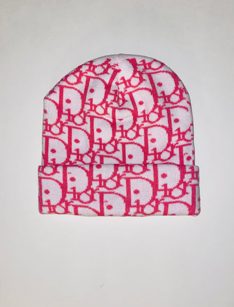 BEANIE-06 Designer Inspired BEANIE WHITE AND PINK Hat Cap Skully