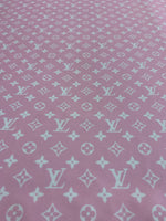 LV-507 Designer Inspired LV Vuitton Powder Pink and White Spandex Lycra Fabric