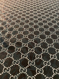 GU-706 Designer Inspired BLACK FLOWER LACE Spandex Lycra Fabric