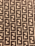 FEN-209 Designer Inspired Beige and Black Spandex Lycra Fabric 1 Yard