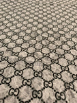 GU-403 Designer Inspired GG LACE White and Black Spandex Lycra Fabric 1 YARD