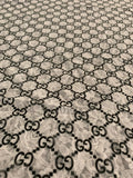 GU-403 Designer Inspired LACE White and Black Spandex Lycra Fabric 1 YARD