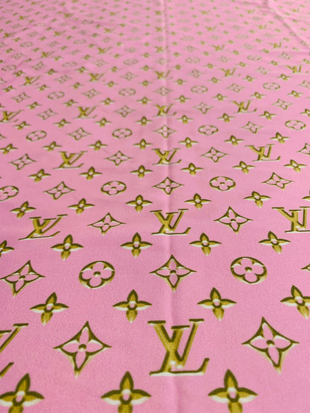 N-602 Designer Inspired Powder Pink with Gold Spandex Lycra Fabric
