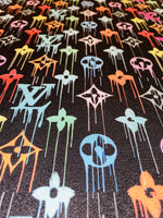 N-608 Designer Inspired Black multicolor Drip Spandex Lycra Fabric