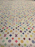 LV-103 Designer Inspired MULTI-COLOR WHITE Vuitton Spandex Lycra Fabric