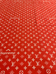N-107 Designer Inspired RED WHITE SUP Spandex Lycra Fabric