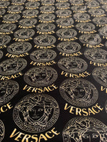 VER-105 Designer Inspired MEDUSA BLACK with GOLD Circles Spandex Lycra Fabric