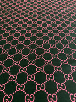 GU-310 Designer Inspired Black with Pink Spandex Lycra Fabric 1 YARD