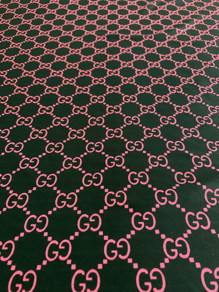 d1de70d1a4b GU-310 Designer Inspired Black with Pink GG Spandex Lycra Fabric 1 YARD