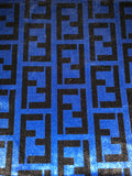 VELVET-108 Designer Inspired BLUE and BLACK VELVET Fabric