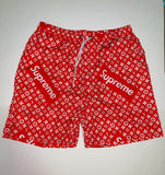 SHORTS-04 Designer Inspired LV Louis Vuitton X Supreme RED Shorts