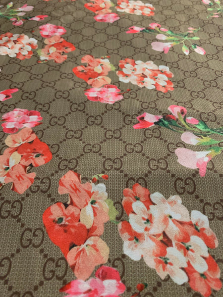 GU-102 Designer Inspired GG BEIGE with FLOWER Blossom Spandex Lycra Fabric