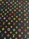 N-104 Designer Inspired MULTI-COLOR BLACK Spandex Lycra Fabric