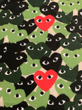 APE-107 Designer Inspired HEARTS Green and Red Spandex Lycra Fabric