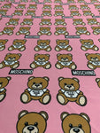 MOS-101 Designer Inspired MOSCHINO PINK BEAR Spandex Lycra Fabric