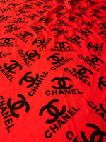 CC-205 Designer Inspired CHANEL Red w/Black CC Spandex Lycra Fabric 1 Yard