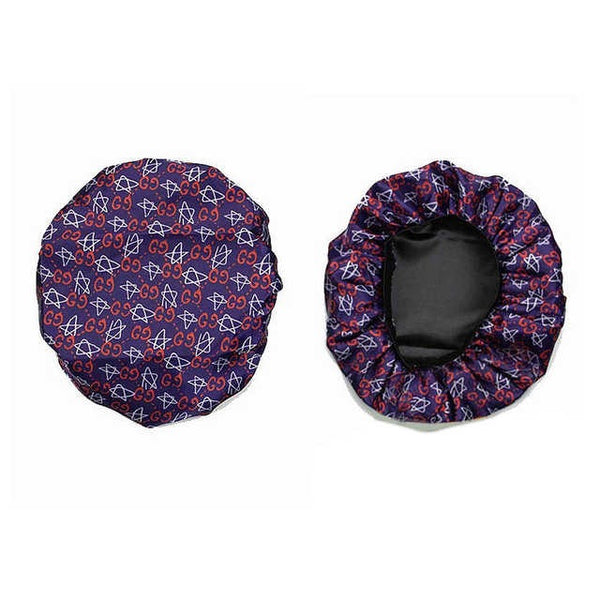 BONNET-03 Designer Inspired GHOST Stars BLUE BONNET DURAG hair tie