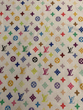 N-103 Designer Inspired MULTI-COLOR WHITE Spandex Lycra Fabric