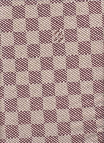 N-207 Designer Inspired CREAM BROWN LARGE CHECKERED Spandex Lycra Fabric