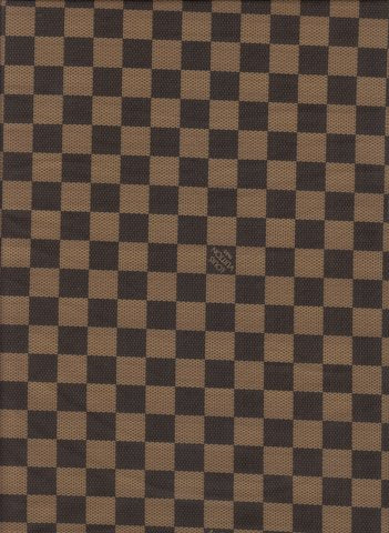 N-206 Designer Inspired BROWN CHECKERED Spandex Lycra Fabric