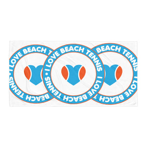 I Love Beach Tennis Retro Logo Towel