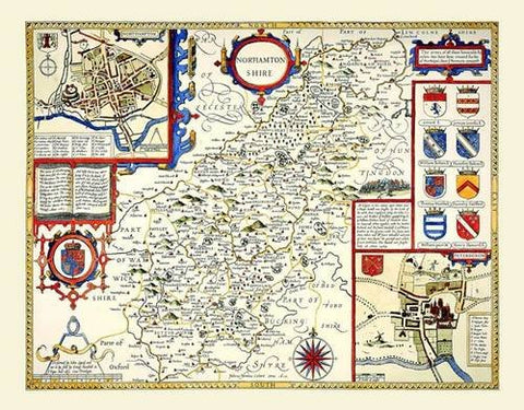 John Speed Map of Northamptonshire 1611: 20 x 16 Photographic Print of the County of Northamptonshire - England