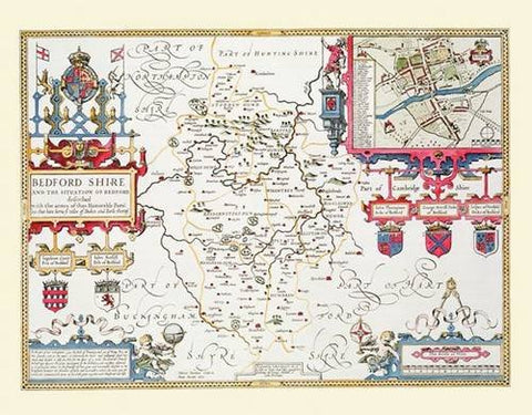 John Speed Map of Bedfordshire 1611: 20 x 16 Photographic Print of the County of Bedfordshire - England (John Speed Collection)