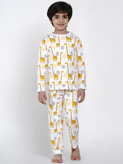 giraffe printed night suit set