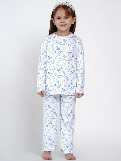 paper plane organic cotton night suit girls