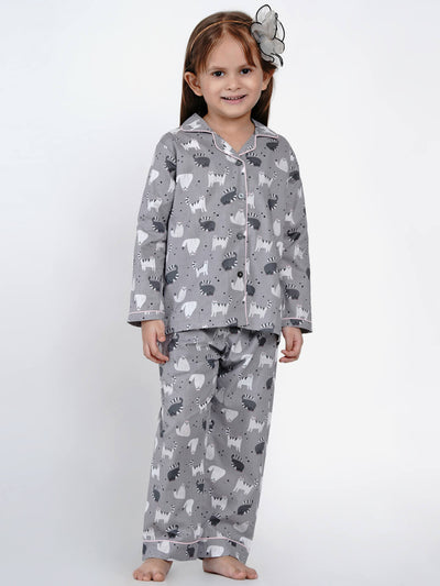 grey cats night suit set