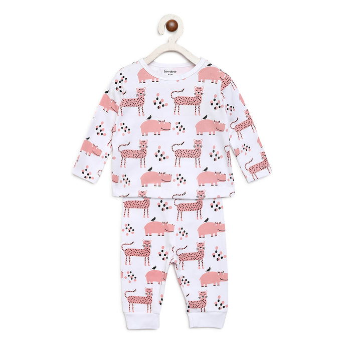 Berrytree Organic Night Suit Pink Stars