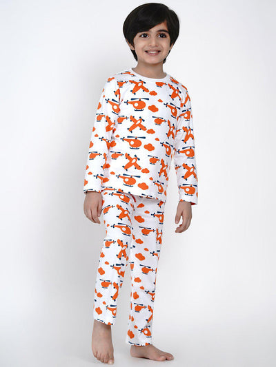 Orange plane nightsuit berryrtee