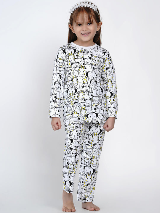 yellow animals night suit set