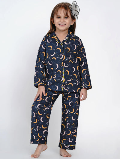 yellow moon girl night suit set