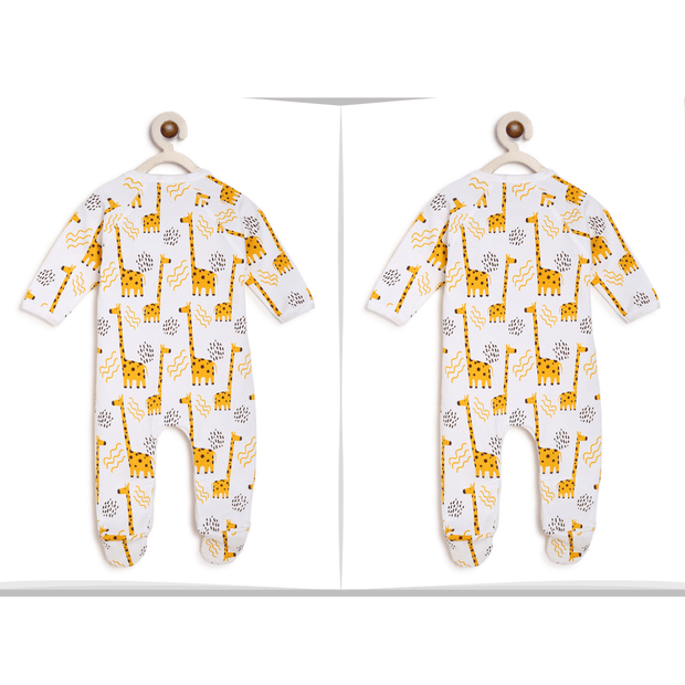 giraffe yellow twin romper organic cotton
