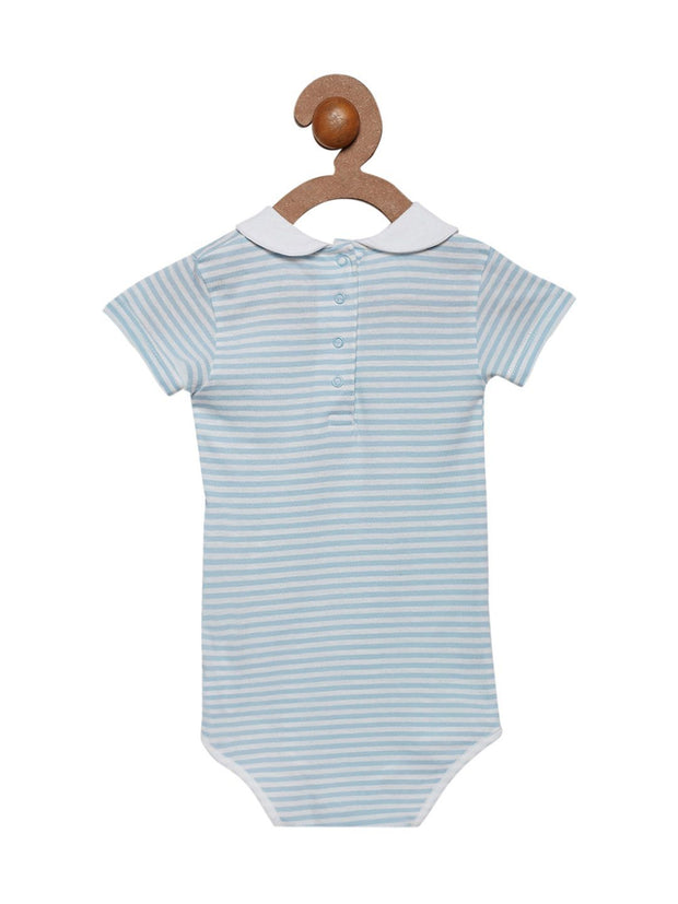 Berrytree Organic Cotton Baby Onesie Peter Pan Baby Blue Stripes