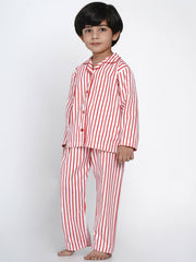 red stripes night suit cotton
