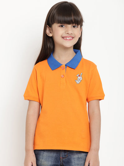 orange polo t shirt for girls