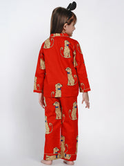 dog printed night suit set